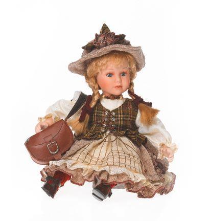 Bambola da Collezione in Porcellana Seduta con borsa e Cappellino Capelli biondi RF Collection Qualità Made in Germany
