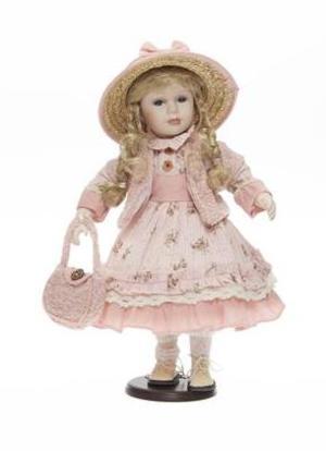 Bambola da Collezione in Porcellana con Capelli biondi e Vestito rosa RF Collection Qualità Made in Germany