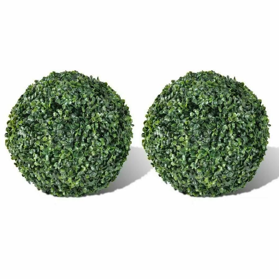 Sfera Bosso Artificiale Sintetica Foglie Verdi Buxus Finto Palla 25cm 2 Pezzi