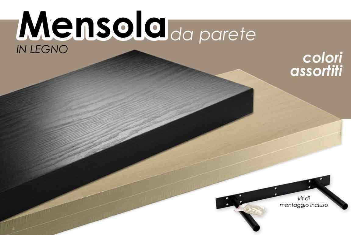 Fissaggio Mensole Legno.Mensola In Legno Scaffale Pensile Da Parete Muro Con Reggi Mensola A Scomparsa Bianco O Nera