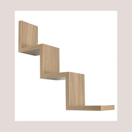 Mensola da Parete forma zig zag Design elegante moderno scaffale legno 59x12cm