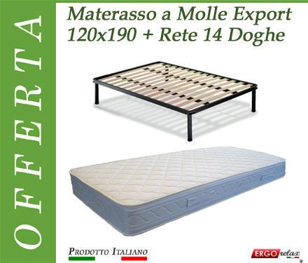 Offerta Pack Tutto Compreso Materasso a Molle Export da Cm. 120x200 + Rete Vienna 14 Doghe 120x200 - Made in Italy