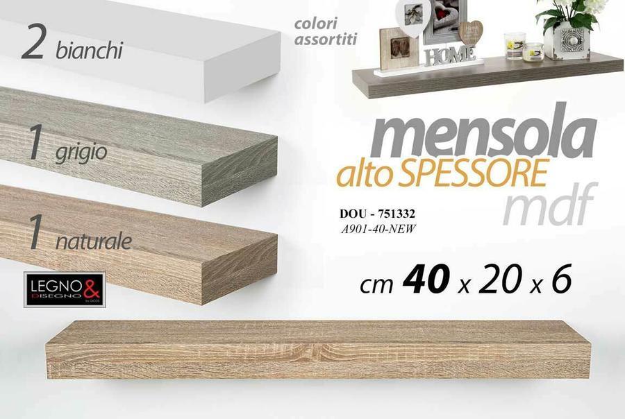 Mensola da Parete Moderna Scaffale a Muro Pensile Alto Spessore in Legno MDF New 40 x 20 x 6 cm