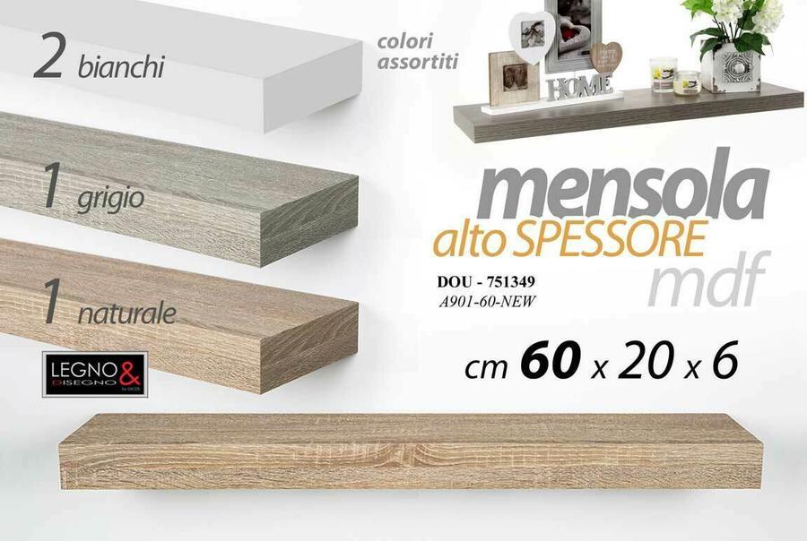 Mensola da Parete Moderna Scaffale a Muro Pensile Alto Spessore in Legno MDF New 60 x 20 x 6 cm