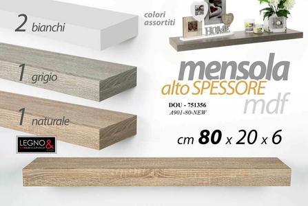 Mensola da Parete Moderna Scaffale a Muro Pensile Alto Spessore in Legno MDF New 80 x 20 x 6 cm