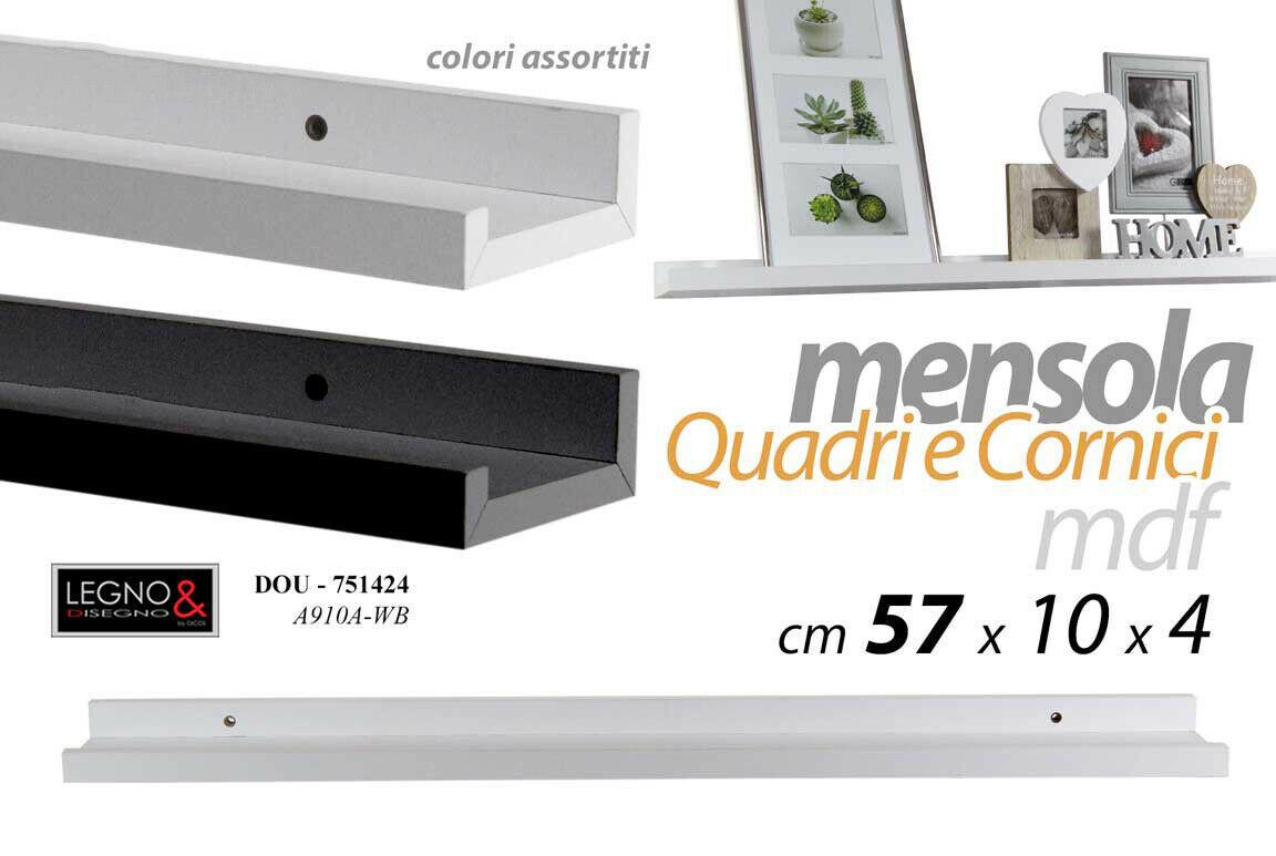 Mensole Da Muro Design.Mensole Da Parete Scaffale A Muro Moderno Per Quadri Cornici Design Bianco Nero