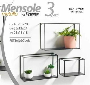 3 Mensole da Parete Rettangolari Metallo Mensola Scaffale a muro Pensile Moderno