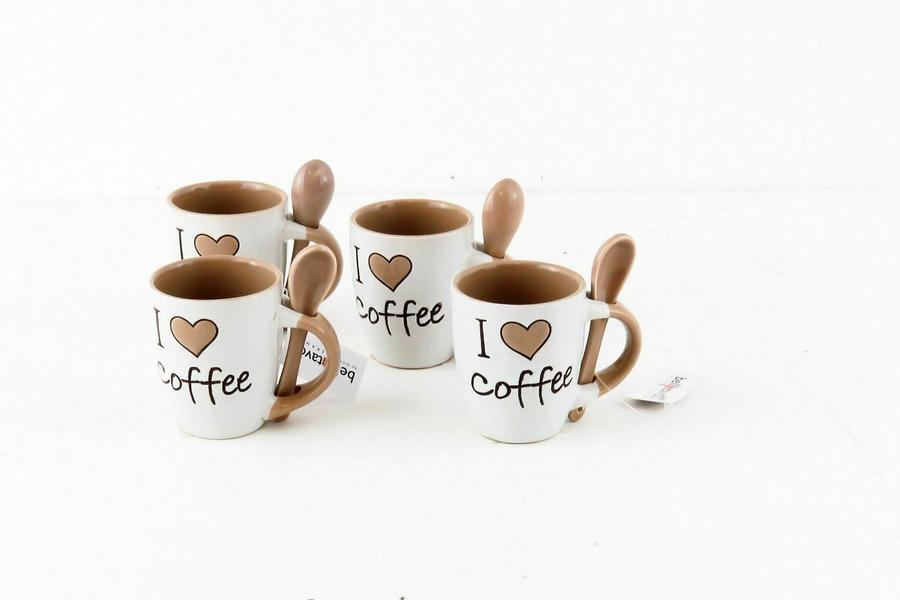 Tazza da caffe' con Cucchiaino 88ml Tazzina bicolore Tazze caffe con cuore 6 PZ