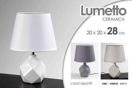 Lampada da Tavolo Comodino Lumetto Lampade in Ceramica Lumetti Pietra alla Base 2 Pezzi