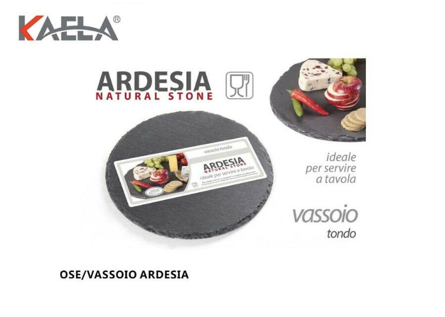 2 Vassoi Vassoio 20x20 Rotondo in pietra naturale Ardesia Vassoi per Salumi Formaggi Tagliere