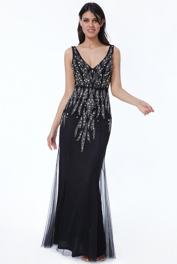 0492 LONG BLACK DRESS IN LINED CHIFFON WITH EMBROIDERY IN RHINESTONES AND STONES SEQUINS