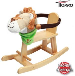 """Cavallo a Dondolo con Seduta Chiusa """"Kiddy Lion"""" Leoncino con Fiocco Verde di Torro"""