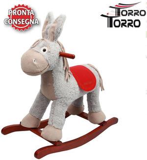 """Cavallo a Dondolo """"Chico"""" Asino da Corsa Bianco e Sella Rossa con Musica di Torro"""