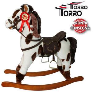 """Cavallo a Dondolo """"Apache"""" in Legno Naturale e Tessuto Colore Bianco e Marrone Movimento Bocca di Torro"""