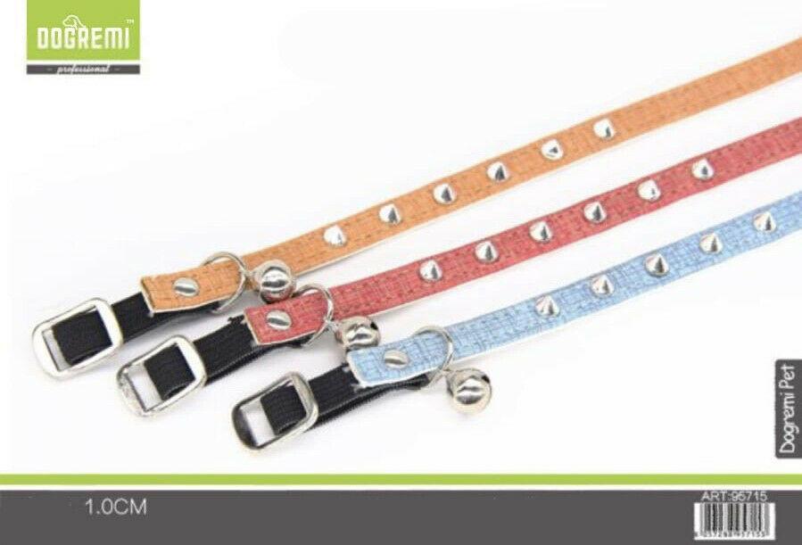 Collare con Campanello per Cani Gatti 1 m colori assortiti con borchie punta New