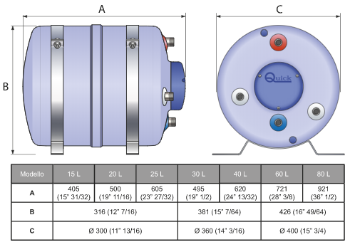 Boiler B3 80 LT 1200 W di Quick - Offerta di Mondo Nautica 24