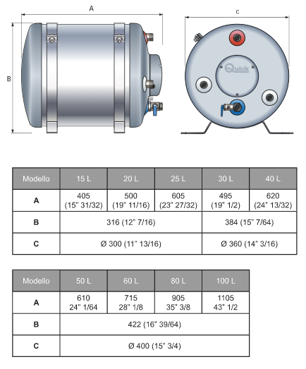 Boiler BX 15 LT 500 W di Quick - Offerta di Mondo Nautica 24