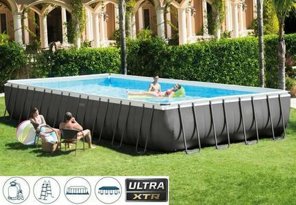 Piscina fuoriterra Intex 26374 PLUS Ultra XTR ultraframe rettangolare misura 975 x 488 x 132 con pompa a sabbia e accessori modello NUOVO EX 28372