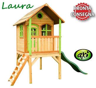 """Casetta per Bambini in Legno di Cedro """"Laura"""" con Scala e Scivolo di AXI"""