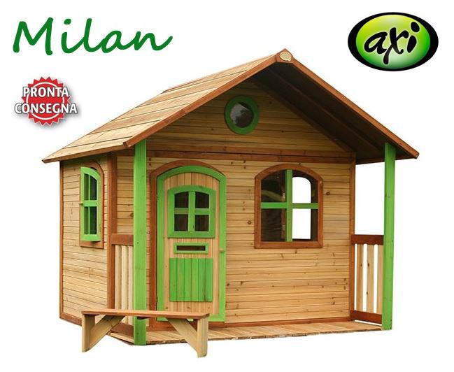 """Casetta per Bambini in Legno di Cedro """"Milan"""" con Portico di AXI"""