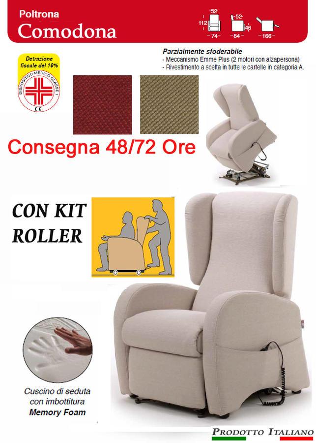 Poltrona Relax Comodona Pronta Consegna Sfoderabile 2 Motori con Alzapersona  Kit Roller Seduta in Memory Dispositivo Medico Prodotto Italiano