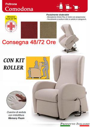 Poltrona Relax Comodona Pronta Consegna Sfoderabile 2 Motori con Alzapersona  Kit Roller Seduta in Memory Dispositivo Medico IVA AGEVOLATA 4% Prodotto Italiano