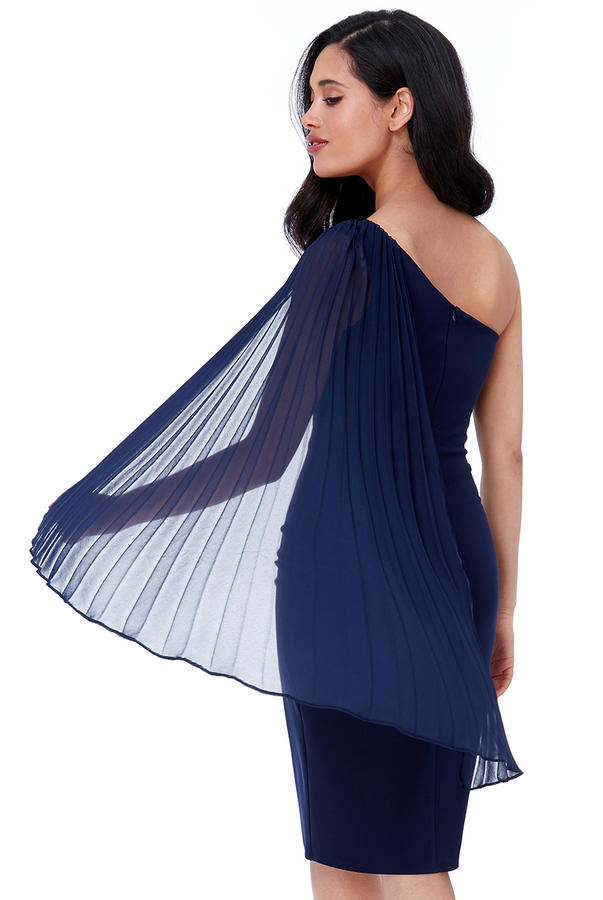 0503 ONE SHOULDER LONGUETTE TUBE WITH CHIFFON SLEEVE