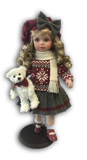 Bambola da Collezione in Porcellana con Sciarpa Bianca e orsacchiotto RF Collection Qualità Made in Germany