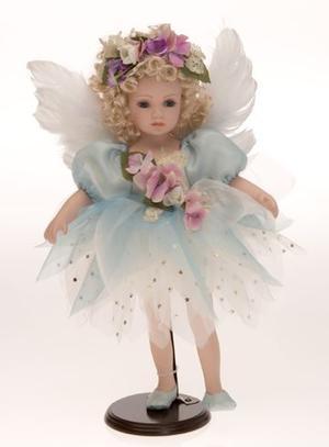 Bambola da Collezione in Porcellana Angelo con ali di Piume e Vestito Turchese RF Collection Qualità Made in Germany