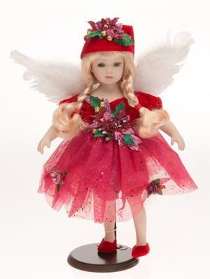 Bambola da Collezione in Porcellana Angelo con ali di Piume e Vestito in Tulle Rosso RF Collection Qualità Made in Germany