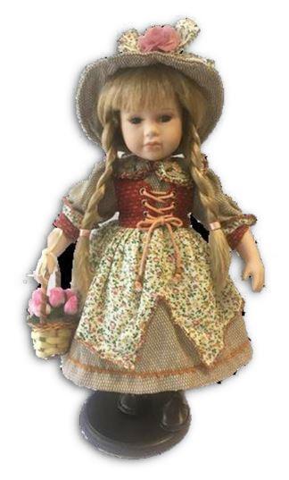 Bambola da Collezione in Porcellana con cappello e cesto di Fiori Gilet Rosso RF Collection Qualità Made in Germany