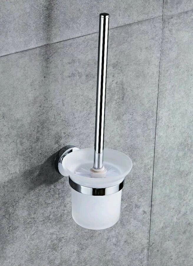 Porta Scopino da Bagno a Muro Scopini Spazzolone Pulizia Vaso WC Acciaio e Vetro