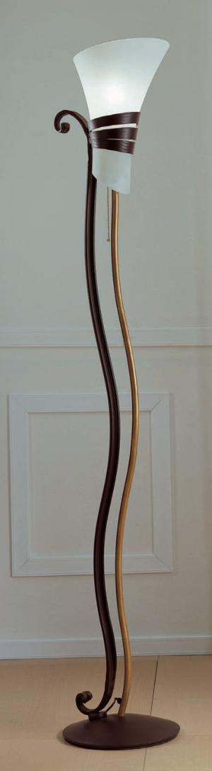 Piantana Neoclassica di Febo in Metallo Lavorato con Campana in Vetro Scavo Bianco - Offerta di Mondo Luce 24