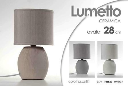 Lampada da Tavolo in Ceramica Comodino Lumetto Lampade Lumetti Ovale 28 cm New 2 Pezzi