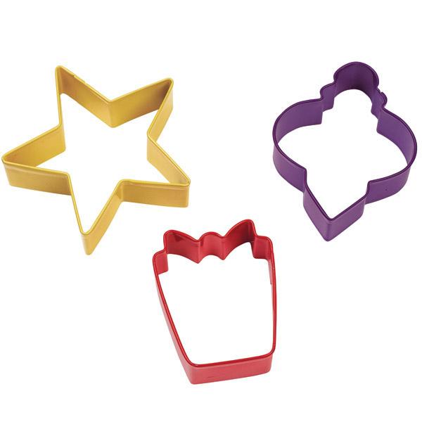 Set 3 stampi per biscotti natalizi, stella, pacco regalo, pallina natale