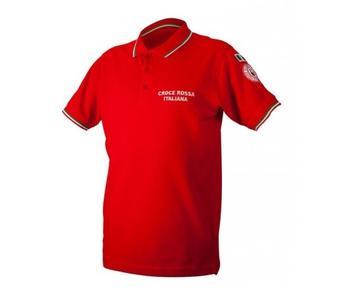 Polo rossa tricolore Croce Rossa Italiana manica corta