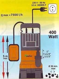 Elettropompa sommersa 400W Portata 7500 lt./h mod. MORAY Papillon 91852