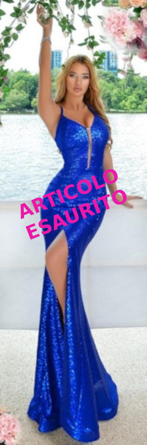 0507 ABITO A SIRENA IN PAILLETTES BLU ELETTRICO CON SPACCO LATERALE