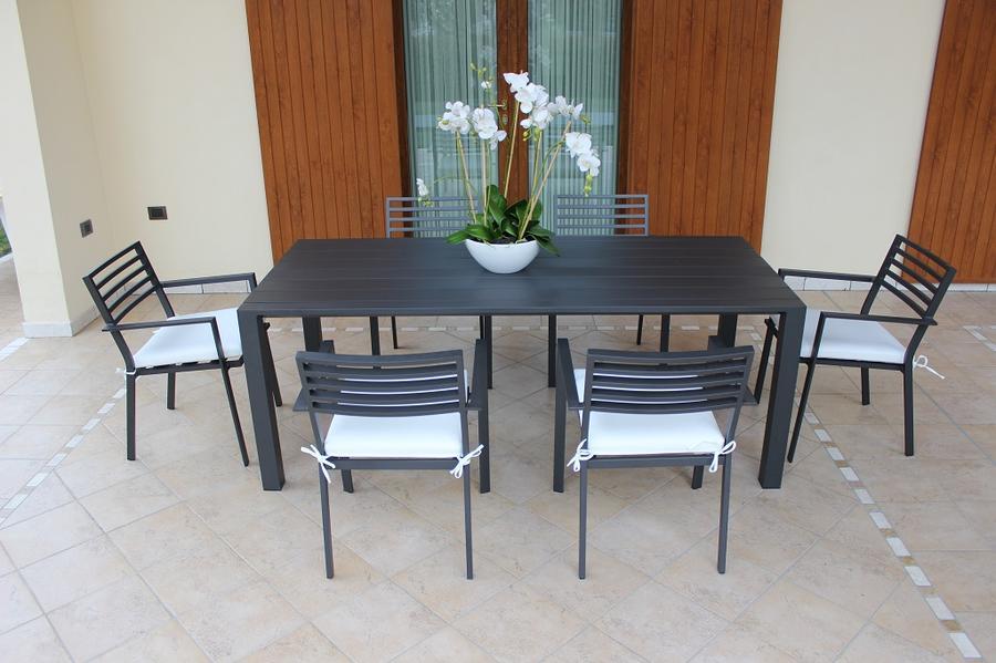 Sedia da giardino in alluminio FLORENCES con cuscino grigio antracite semiopaco