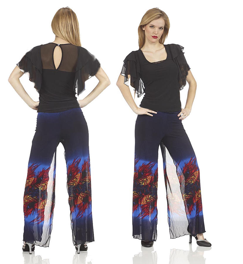 DOUBLE KNIT TROUSERS WITH SHADED BLUE FANTASY 1-0024