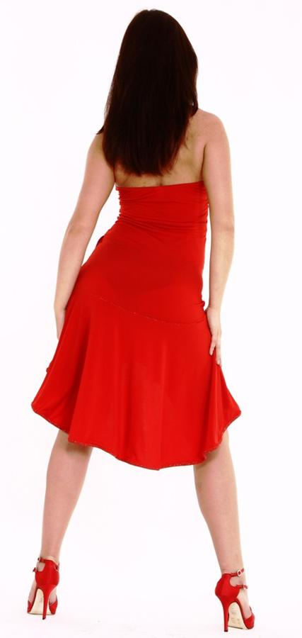 LATIN DANCE SHORT DRESS IN FRONT AND LONG BACK IN RED JERSEY 4-0115
