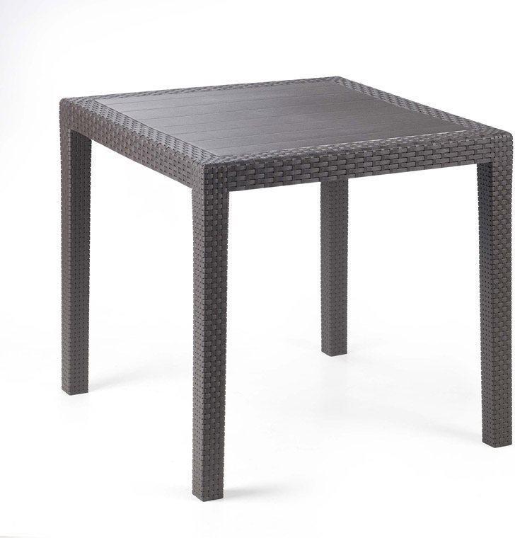 Tavolo da Giardino in Plastica effetto Rattan KING Quadrato cm 79 x 79 x 72 h colore Antracite