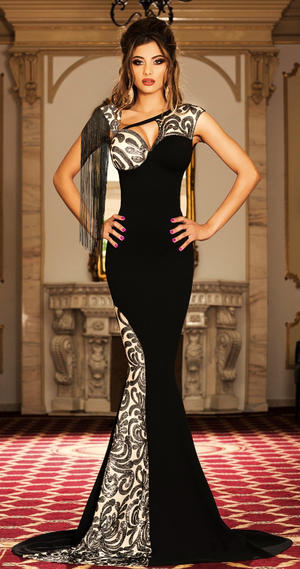 0436 LONG EVENING DRESS IN BLACK ELASTIC CREPE FABRIC WITH NUDE INSERTS AND SEQUINS