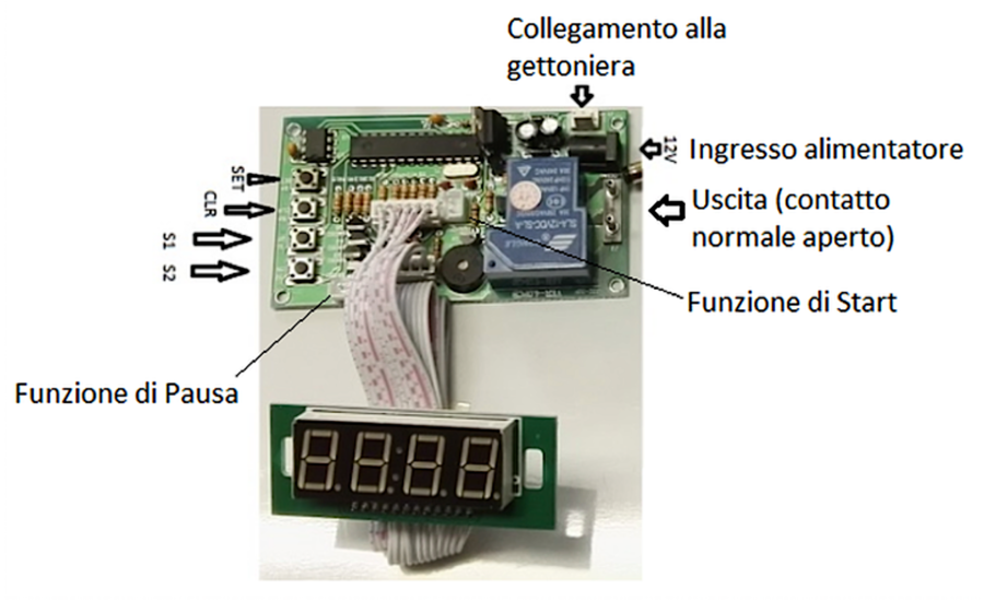 Timer per gettoniera - IN/OUT 12Vcc - Alimentatore incluso