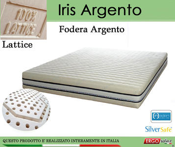 Materasso in Lattice 100% Mod. Iris Argento Singolo da Cm 80x190/195/200 a Zone Differenziate Sfoderabile - Ergorelax