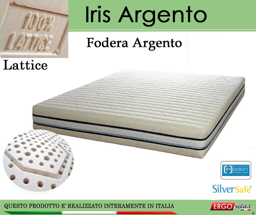 Materasso in Lattice 100% Mod. Iris Argento da Cm 140x190/195/200 a Zone Differenziate Sfoderabile - Ergorelax