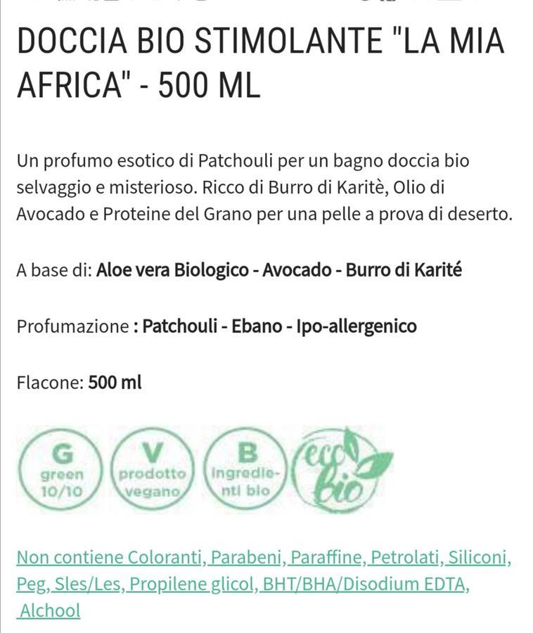 Bagnoschiuma stimolante La mia Africa ecogreen Divina Essentia Firenze 500 ml