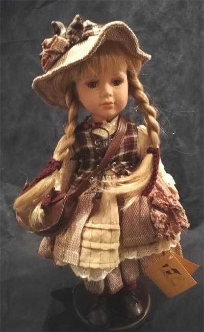 Bambola da Collezione in Porcellana con Capelli biondi e Borsetta RF Collection Qualità Made in Germany