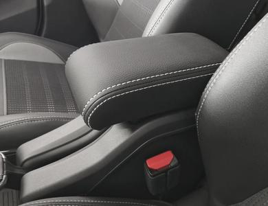 Adjustable armrest for Peugeot 2008 (2013-2019) with double white stitching