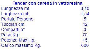 Tender Carena Vetroresina cm. 310